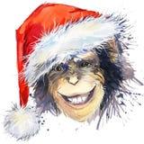 Graphiques de T-shirt de Santa Claus de singe monkey l'illustration d'année avec le fond texturisé par aquarelle d'éclaboussure w Images stock