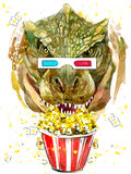 Graphiques de T-shirt de tyrannosaure de dinosaure, aquarelle de dessin de dinosaure Image stock