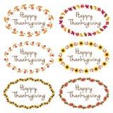 Graphiques de thanksgiving avec les cadres ovales Images stock