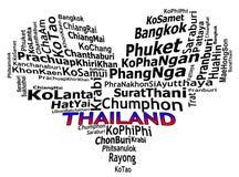 Graphiques de touristes des textes d'infos de destinations de la THAÏLANDE illustration libre de droits