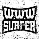 Graphiques de typographie de T-shirt de surfer de WWW grunges illustration libre de droits