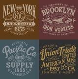 Graphiques de vêtements de travail de vintage réglés illustration de vecteur