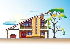 Graphiques de vecteur de Chambre, d'arbre et de nuages illustration libre de droits