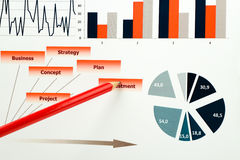 Graphiques, diagrammes, recherche de marché et fond colorés de rapport annuel d'affaires, projet de gestion, planification de bud Images stock