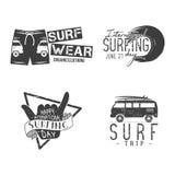 Graphiques et emblèmes surfants de vintage pour le web design ou la copie Calibres de logo de surfer Calibres surfants de graphiq Photo libre de droits
