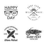 Graphiques et emblèmes surfants de vintage pour le web design ou la copie Calibres de logo de surfer Calibres surfants de graphiq Photos libres de droits
