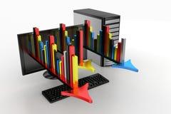 Graphiques et flèches projetant à partir du calculateur numérique Images stock