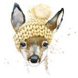 Graphiques mignons de T-shirt de cerfs communs de forêt, illustration de cerfs communs d'aquarelle Photos stock