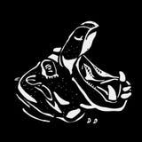 Graphiques tirés par la main de crayon, hippopotame, hippopotame, béhémoth Gravure, style de pochoir Logo noir et blanc, signe, e Images libres de droits