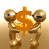 Graphisme 3d futuriste retenant le symbole du dollar illustration stock