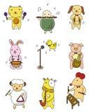Graphisme animal de musique de pièce de dessin animé Photo stock