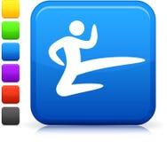 Graphisme d'arts martiaux de karaté sur le bouton carré d'Internet Images stock