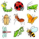 Graphisme de 9 insectes illustration de vecteur
