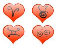 Graphisme de coeurs de zodiaque Image libre de droits