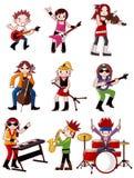 Graphisme de groupe de rock de dessin animé Images libres de droits