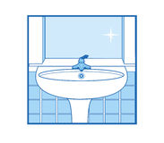 Graphisme de lavabo de salle de bains Photo libre de droits