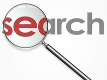 Graphisme de recherche avec le linse Photographie stock