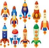 Graphisme de vaisseau spatial de dessin animé Photo stock