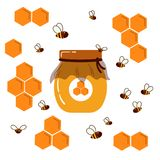 graphisme Pot avec du miel fait maison Nid d'abeilles et abeilles Photographie stock libre de droits
