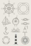 Graphisme réglé de bateau de mer Images stock