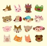 Graphismes animaux de visage de dessin animé Images libres de droits