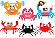 Graphismes animaux mignons de vecteur : Crabes colorés mignons Images libres de droits