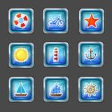 Graphismes avec les éléments marins Images stock