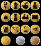 Graphismes/boutons d'hôtel - ronds - or illustration stock