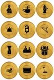 Graphismes/boutons d'hôtel - ronds - or illustration de vecteur