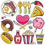 Graphismes colorés 2 de nourriture Image libre de droits
