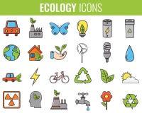 graphismes d'écologie réglés Icônes pour l'énergie renouvelable, technologie verte Tiré par la main Vecteur Photographie stock
