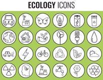 graphismes d'écologie réglés Icônes pour l'énergie renouvelable, technologie verte Tiré par la main Vecteur Image stock