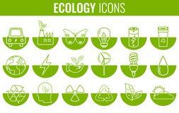 graphismes d'écologie réglés Icônes pour l'énergie renouvelable, technologie verte Tiré par la main Vecteur Photo libre de droits