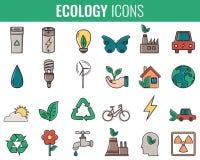 graphismes d'écologie réglés Icônes pour l'énergie renouvelable, technologie verte Tiré par la main Vecteur Photos libres de droits