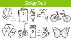 graphismes d'écologie réglés Illustration tirée par la main Vecteur Photo libre de droits
