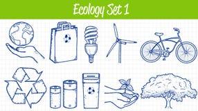 graphismes d'écologie réglés Illustration tirée par la main Vecteur Photographie stock libre de droits