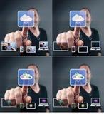 Graphismes d'écran tactile d'homme Image libre de droits