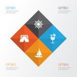 Graphismes d'été réglés Collection de bateau, de fonte, de vitamine et d'autres éléments Inclut également des symboles tel le bat Photographie stock libre de droits