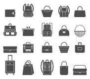 Graphismes d'achats réglés Icônes de sac Image libre de droits