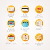 Graphismes d'achats réglés Illustrations colorées d'appartement moderne Icônes liées au marché en ligne de commerce et de vente a illustration stock