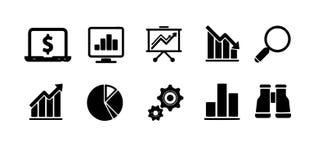 Graphismes d'affaires réglés Icônes pour des affaires, gestion, finances, stratégie, vente image stock