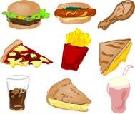 Graphismes d'aliments de préparation rapide Images libres de droits