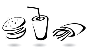 graphismes d'aliments de préparation rapide Photo libre de droits