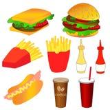 graphismes d'aliments de préparation rapide réglés Illustration colorée de vecteur Photos libres de droits