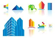 Graphismes d'immeubles de vecteur Photos libres de droits