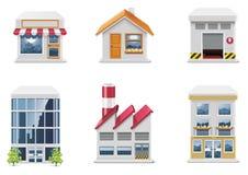 Graphismes d'immeubles de vecteur. Partie Photo libre de droits