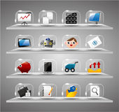 Graphismes d'Internet de site Web, bouton en verre transparent Photos libres de droits