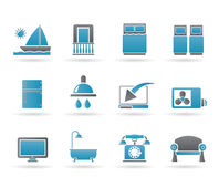 Graphismes d'équipements de chambre de motel d'hôtel et Photographie stock