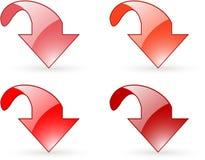 Graphismes de bouton rouge de téléchargement de flèche Image libre de droits