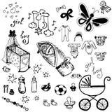 Graphismes de chéri réglés Illustration tirée par la main de vecteur Images stock